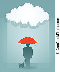 Loneliness - The man under a rain with a dog. A vector...