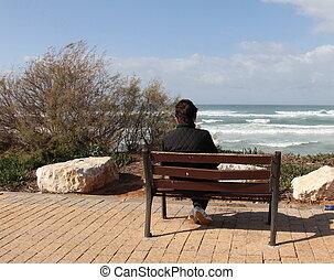 loneliness., vrouw, alleen, zittende