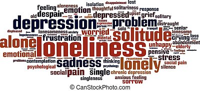 Loneliness word cloud concept. Vector illustration