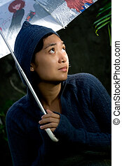 lonely and insecure woman - portrait of asian woman on her...
