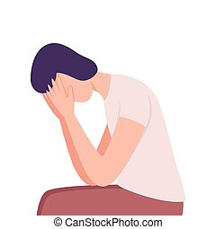 Lonely and Sad Young Man Covering Face with His Hands, Frustrated Guy Character Flat Vector Illustration