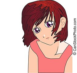 Lonely anime manga cartoon girl