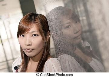 Lonely Asian woman, closeup portrait.