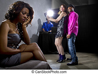 Lonely at Nightclub - single black woman jealous of...