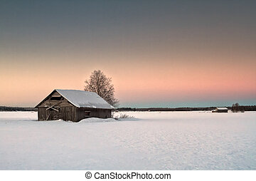 Lonely Barns On The Snowy Fields