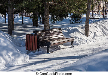 Lonely bench in city park on winter day