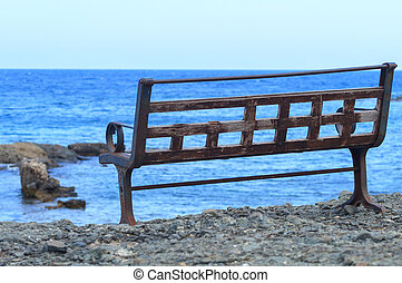 Lonely bench near the sea in Phaselis.