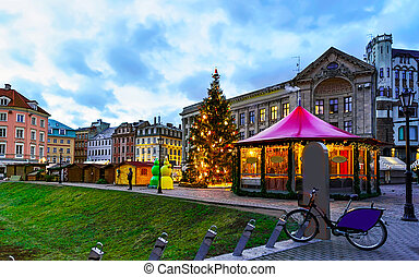 Lonely bicycle left near the Riga Christmas market reflex