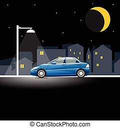 Lonely blue colored car on an empty