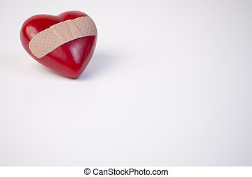 Lonely, Broken, Bandaged, Heart - Red heart with bandage, in...