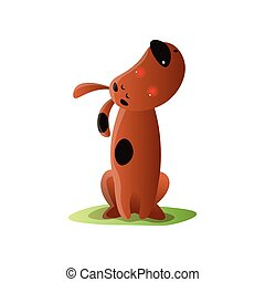 Lonely brown cartoon dog howling isolated on white background