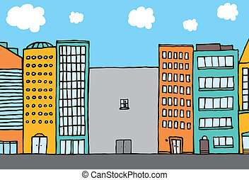 Lonely building in the city