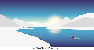 lonely canoeing adventure concept red boat in a winter landscape with snowy mountains