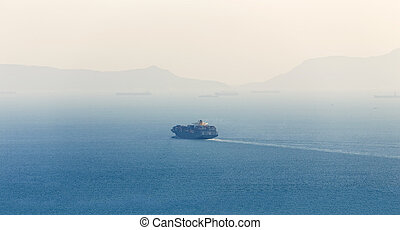 lonely Cargo Container Ship in sea