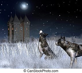 Lonely castle in a moonlit winter mountain landscape with wolves in the foreground, 3d digitally rendered illustration