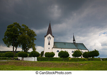 Lonely church in the field