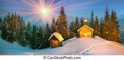 Lonely church in the wild mountains. - Old wooden church, ...