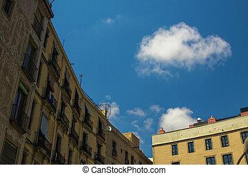 lonely cloud in sky of barcelona