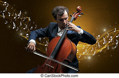 Lonely composer playing on cello