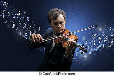 Lonely composer playing on violin