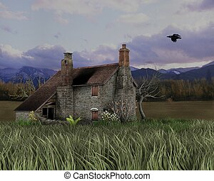 Traditional stone cottage in a lonely rural landscape, 3d digitally rendered illustration