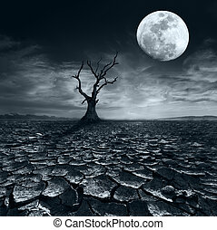Lonely dead tree at full moon night under dramatic cloudy sky