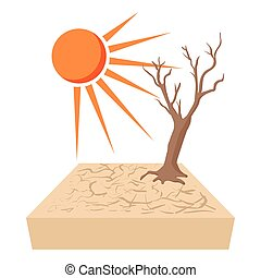 Lonely dead tree at drought cracked desert landscape icon in...