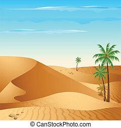 Lonely Desert - illustration of desert with palm tree in day...