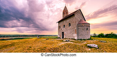 Lonely Drazovsky church in the country, Slovakia