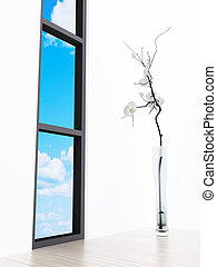 Lonely flower in a vase at a window with a kind on the blue sky