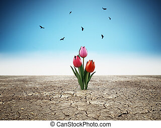 Lonely flower standing on cracked soil. 3D illustration
