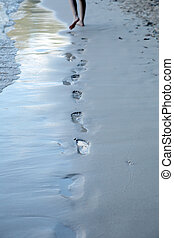 footmark - Lonely footmark on thel beach