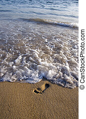 lonely footstep on sea beach sand and wave