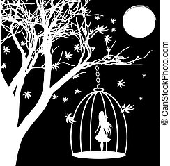 black and white fantasy: a tree, the moon and a girl in a cage