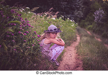 lonely girl in rural path