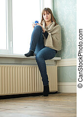 Lonely Girl Sitting in Empty Room - Portrait of a lonely...