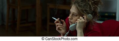 Lonely girl smokes - Lonely girl is calling and she is...