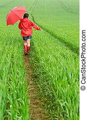 Lonely girl walking in the rain