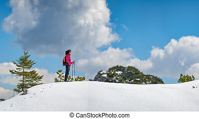 Lonely girl walks in the mountains on the snow