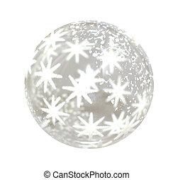 Christmas ball - Lonely glass Christmas ball over white...