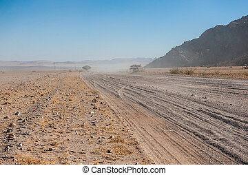 Lonely Gravel road in Namibia