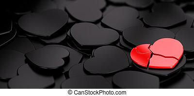 Lonely - heart broken over many black hearts, symbol of ...