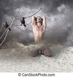 Lonely, Heartbroken Young Man in Despair - Image of a...