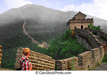 Lonely Hiker on the Great Wall