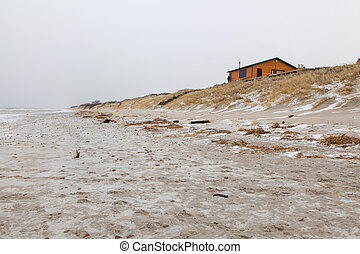 Lonely house at the sea shore