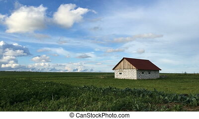 Lonely house in the field