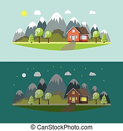 Lonely house in the mountains by day and night