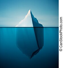 Lonely Iceberg - Ice berg on water concept vector...