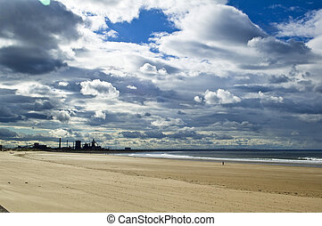 Lonely industrial beach