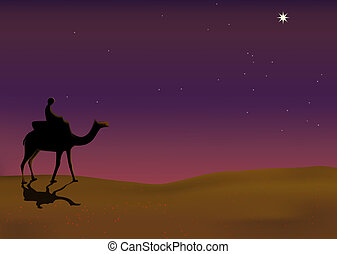 Lonely Journey - Illustration of a man riding on camel